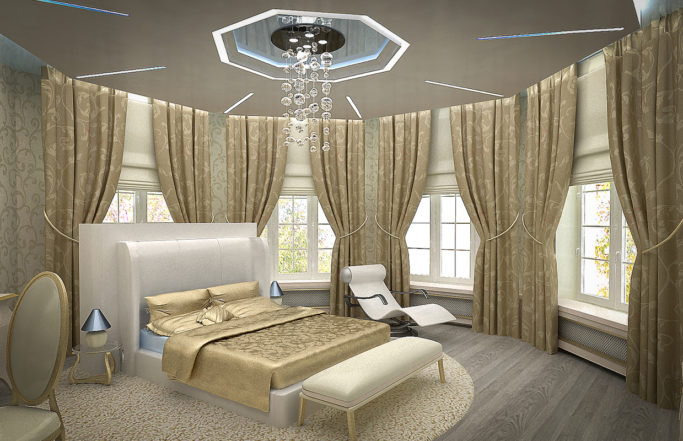 Интерьер загородного дома в Борках – спальни [2011]