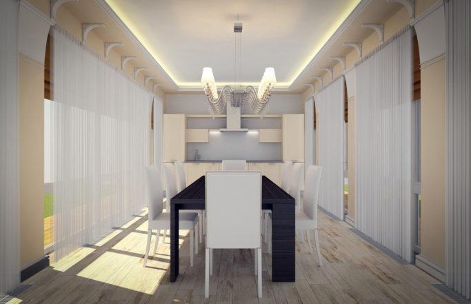 Интерьер загородного дома в Борках – холл, кабинет и беседка [2011]
